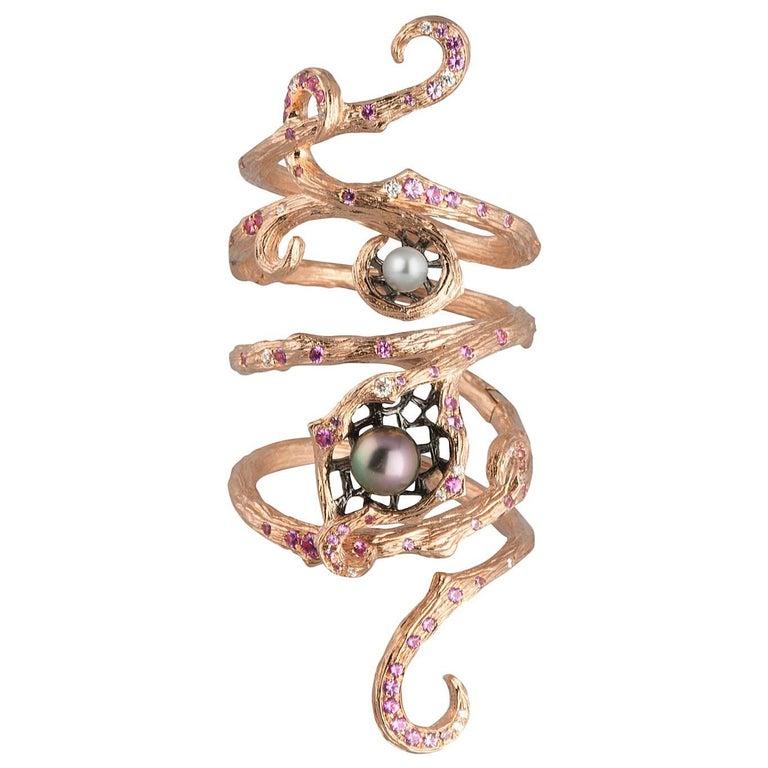 18 Karat Rose Gold Keshi Pearl, Pink Sapphire and Diamond Armour Ring