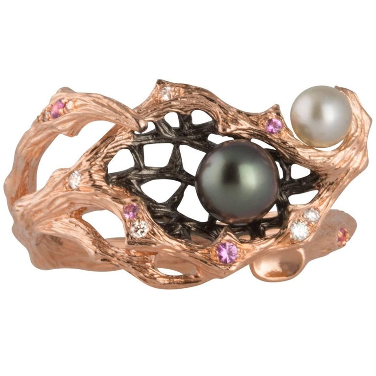 18 Karat Rose Gold Keshi Pearl, Sapphire and Diamond Ring