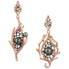 18 Karat Rose Gold Keshi Pearl, Sapphire and Diamond Asymmetrical Earring
