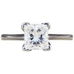 Contemporary Princess Cut Diamond Solitaire in 18 Carat White Gold