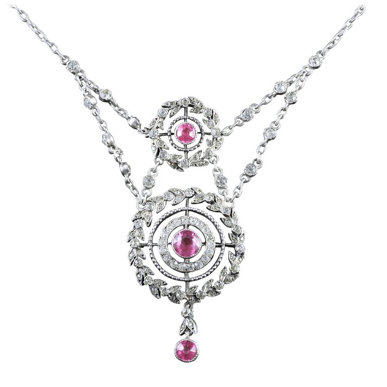 Antique Edwardian Pink Topaz Silver Necklace, circa 1910
