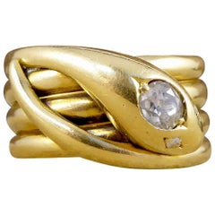 Antique Victorian Diamond Set Serpent Ring in 18 Carat Yellow Gold