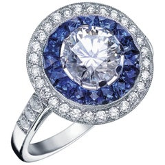 'Victorine' Ring Designed by Valerie Danenberg Set with Caliber Cut Sapphires