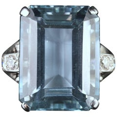 Art Deco Large 28 Carat Aquamarine Diamond Ring