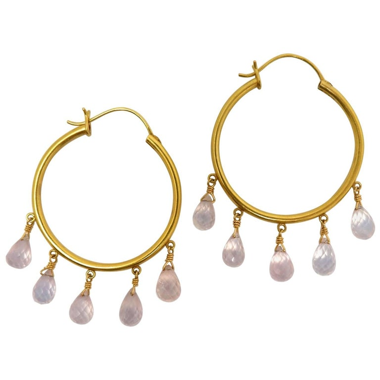 Dancing Apsara Gold and Rose Quartz Hoop Bead Earrings For Sale