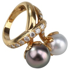 Rene Boivin Twin Color Pearl Diamond Ring