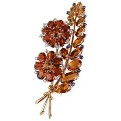 Madeira Citrine Sapphire Blossom Leaf Brooch