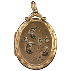 Antique Victorian 9 Carat Gold Paste Locket, circa 1900