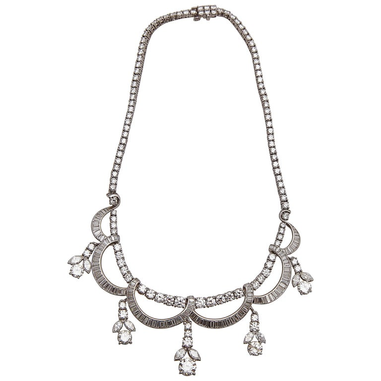 1930s Diamond Platinum Necklace 1