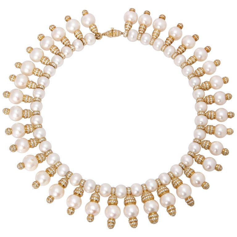 Pearls Diamonds Gold Necklace