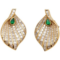 Fasano Diamond and Emerald Leaf Paecock Earclips