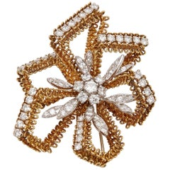 Cartier Retro Gold Diamond Brooch