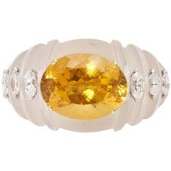 Rock Crystal Citrine Diamond Ring
