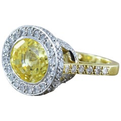 GIA Certified Yellow Sapphire Diamond Gold Platinum Cocktail Ring