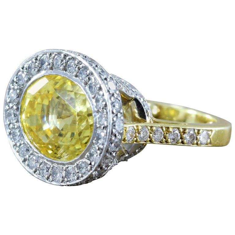 GIA Certified Yellow Sapphire Diamond Gold Platinum Cocktail Ring