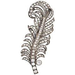 Victorian Silver Topped 18 Karat Yellow Gold Diamond Feather Brooch