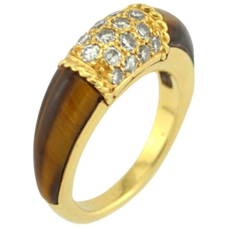 Van Cleef and Arpels 18 Karat Gold Philippine Ring with Diamonds and Tiger's Eye