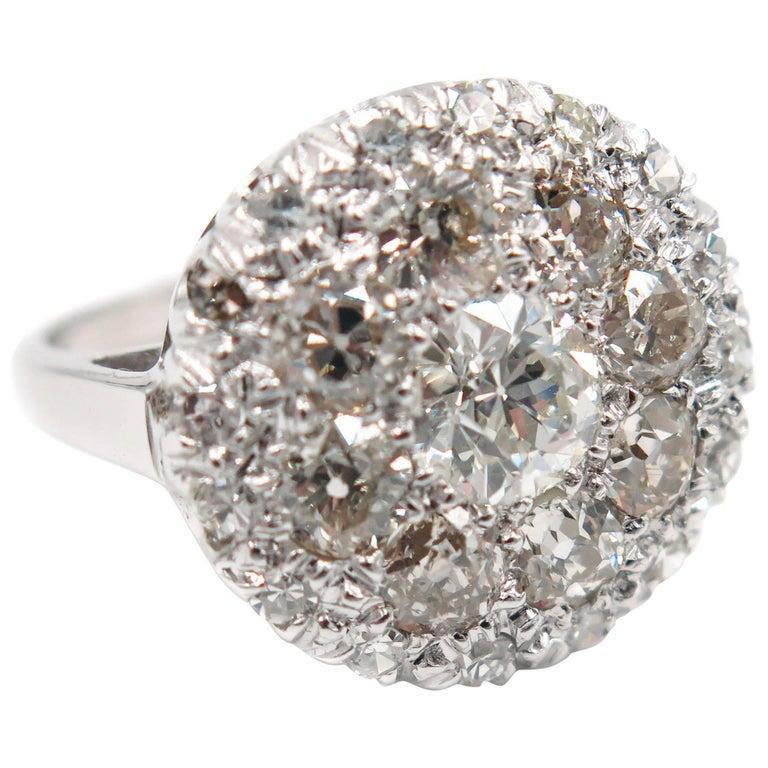 White Gold Diamond Cluster Cocktail Ring