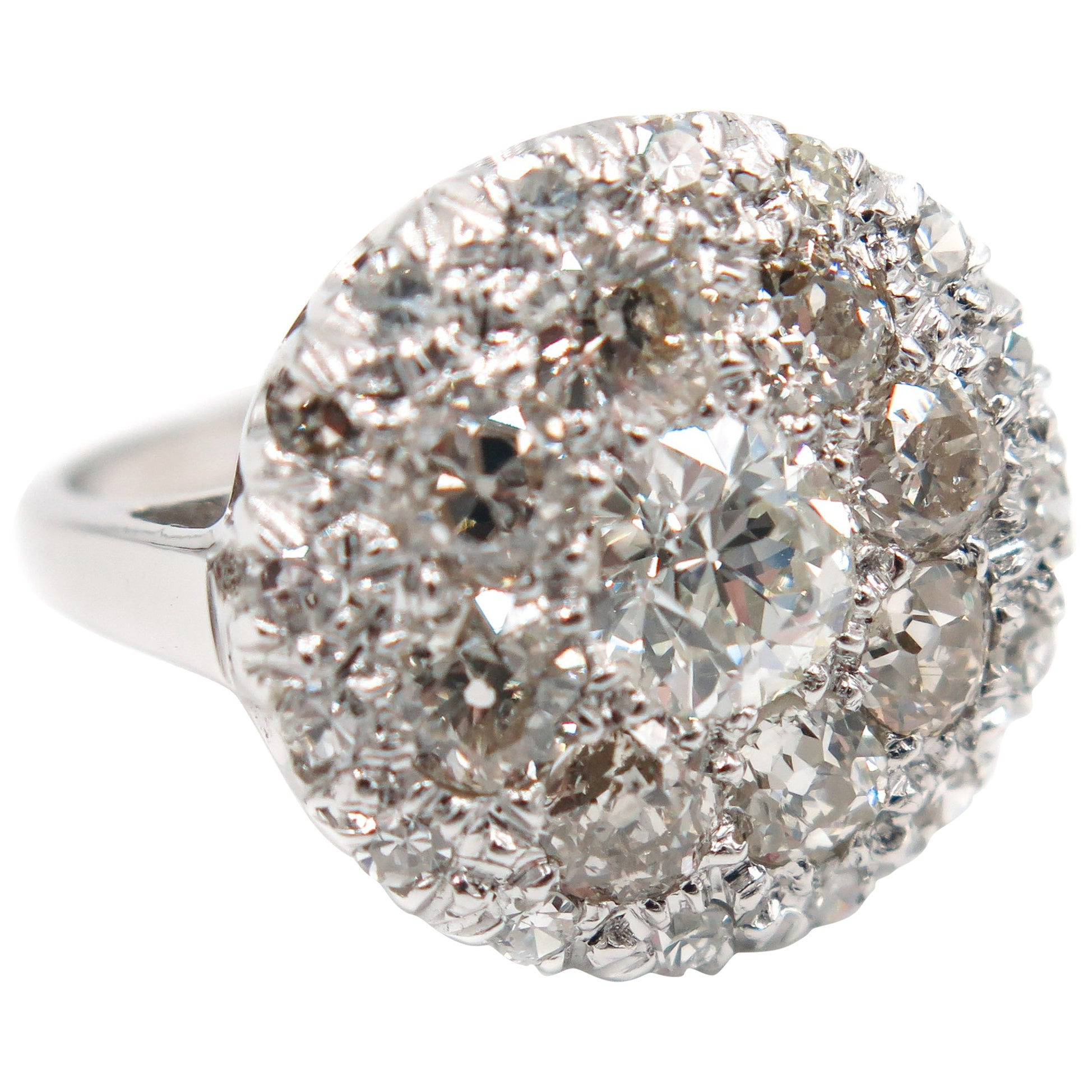 White Gold Diamond Cluster Cocktail Ring