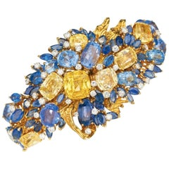 1950s Multicolored Sapphire and Diamond Bangle Bracelet