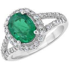2.55 Carat Emerald Diamond Halo Ring