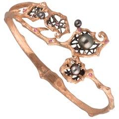 18 Karat Rose Gold South Sea Keshi Pearl, Sapphire and Diamond Bangle