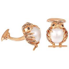 South Sea Pearl Brown Black Diamond Gold Owl Cufflinks