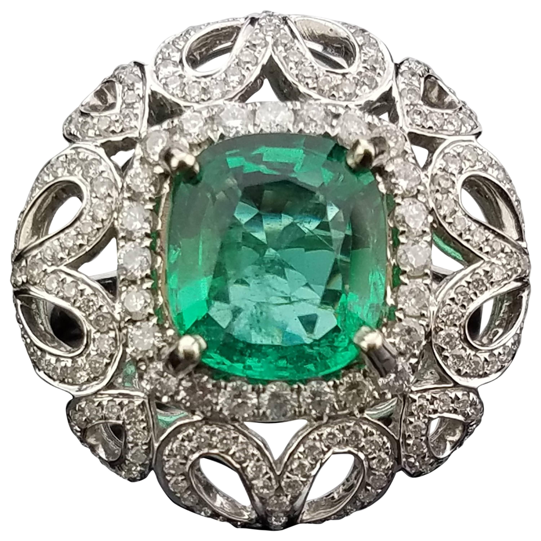 Cushion Cut Zambian Emerald and Diamond Cocktail Ring