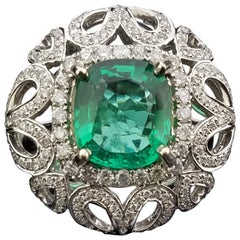 Cushion Cut Zambian Emerald and Diamond Cocktail Ring