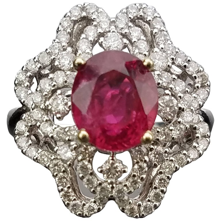 Mozambique Ruby and Diamond Cocktail Ring