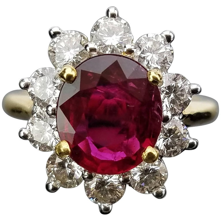 Certified 3 carat Mozambique Ruby and Diamond Cocktail Ring
