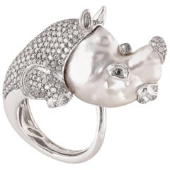 South Sea Pearl Black and Grey Diamond White Gold Rhinoceros Cocktail Ring