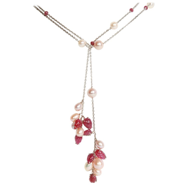 Engraved Rubies and Pearls on a Long White Gold Chain by Marion Jeantet For Sale