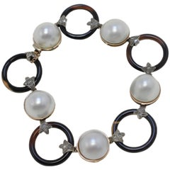 Luise Rose Gold and Silver, Pearls, Diamonds and Onyx Link Bracelet