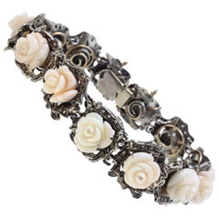 Luise Rose Gold and Silver Coral and Diamonds Bracelet