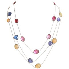 Three White Gold Necklaces with Pink Tourmalines, Opales, Tanzanites
