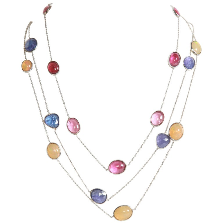 Three White Gold Necklaces with Pink Tourmalines, Opales, Tanzanites 1