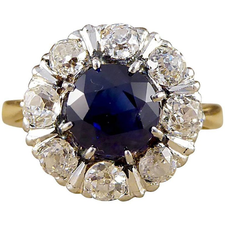 1930s Sapphire and Old-Cut Diamond Engagement Ring in 18 Carat Gold and Platinum
