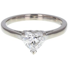 One Carat Heart Shaped Diamond Solitaire Platinum Engagement Ring