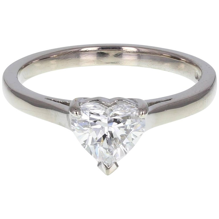 06779a01c0e One Carat Heart Shaped Diamond Solitaire Platinum Engagement Ring