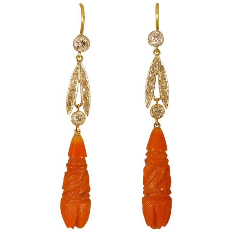 Coral and Diamond Drop Earrings in 15 Carat Gold and Platinum