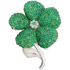 Statement Floral Emerald Cabochon and Diamond Brooch