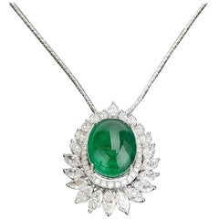 Certified Cabochon Zambian Emerald and Marquise Diamond Pendant