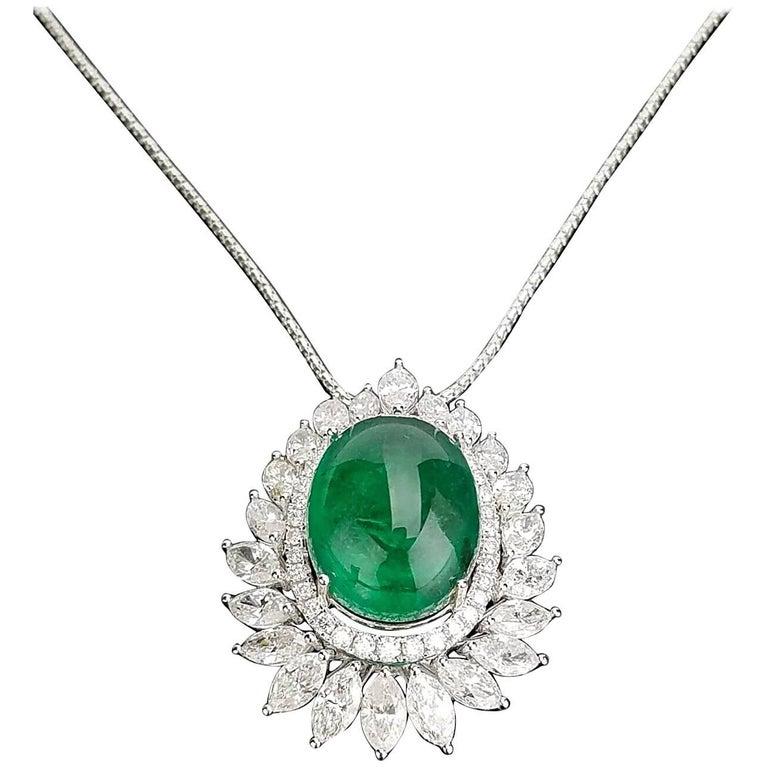 Certified Cabochon Zambian Emerald and Marquise Diamond Pendant