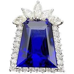 Unique Trapezium Cut Tanzanite and Diamond Pendant