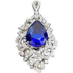 Certified 14.81 Carat Tanzanite and Diamond Pendant