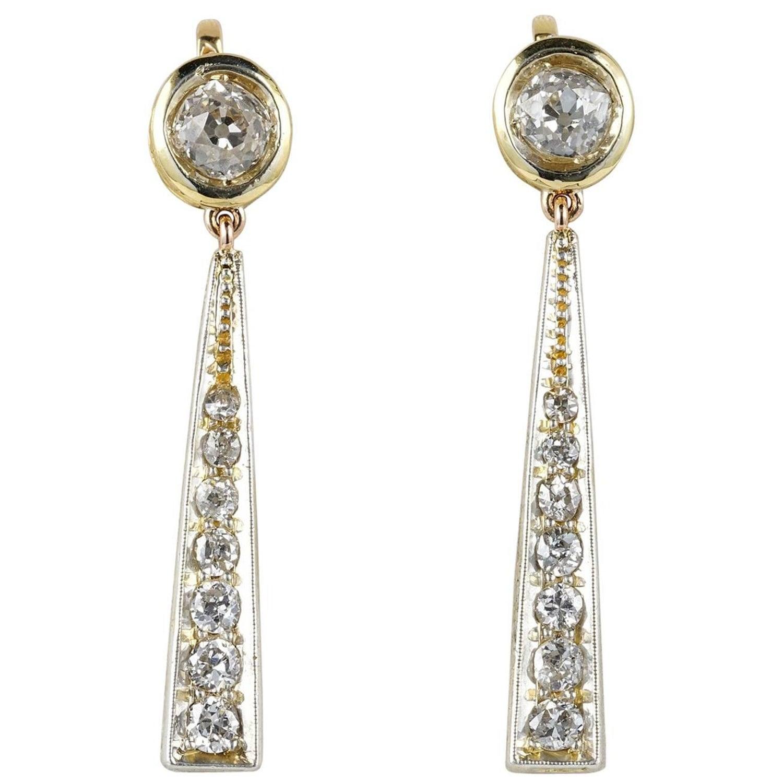 Edwardian 3 50 Carat Diamond Drop Earrings For Sale at 1stdibs