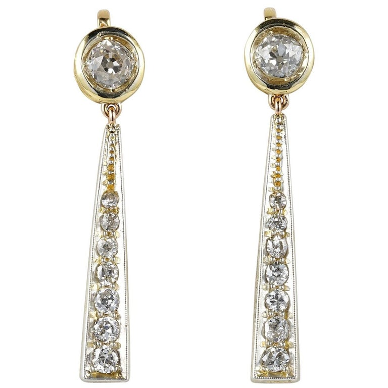 Edwardian 3.50 Carat Diamond Drop Earrings