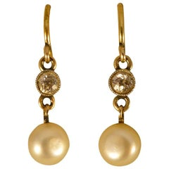 Victorian Natural Pearl and Diamond Drop Earrings in 15 Carat Gold