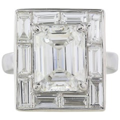 GIA Certified 6.01 Carat G/SI1 Emerald Cut Diamond Ring